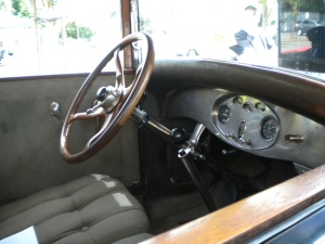 The interior might seem bare compared to a new Lincoln Navigator, but it was top-of-the line until the late 1960's, when leather became popular.  Cloth was THE thing to have in your car for a very long time.  The steering wheel is made out of burled walnut wood.  It's spectacular how much work went into building this car.